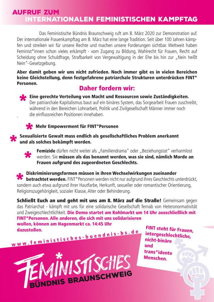 Aufruf des Feministischen Bündnis Braunschweig zur Demonstration am 08. März